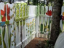 3 Painted White Picket Fence Gardenart Fence Paint Fence Art Fence Decor