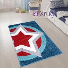 Boys Star Rug Blue Red Super Hero Shield Kids Rugs Carpets Play Room M Xrugs