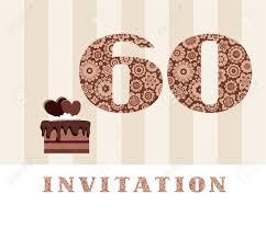 Invitacion 60 Anos Pastel De Chocolate Corazon Vector La