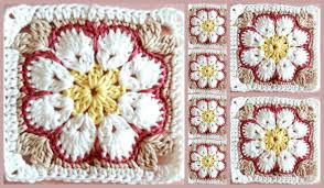 african flower square free crochet