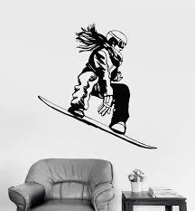 Vinyl Wall Decal Snowboarder Girl Snowboard Extreme Sport Stickers Uni Wallstickers4you