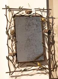 iron frame having a tree branch