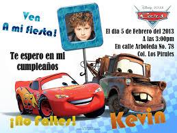 Invitaciones De Cumpleanos Para Ninos De Cars Imagui