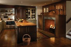 farmhouse kitchen with a fireplace