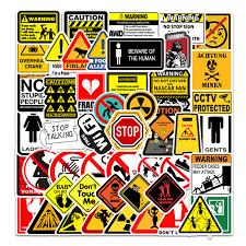 50pcs Warning Signs Graffiti Stickers Waterproof Decal Sticker To Diy Laptop Suitcase Motor Trunk Car Guitar Mobile Phone Stickers Aliexpress