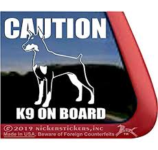 Amazon Com Caution K9 On Board High Performance Vinyl Doberman Pinscher Guard Dog Window Decal Car Truck Tablet Laptop Sticker Automotive