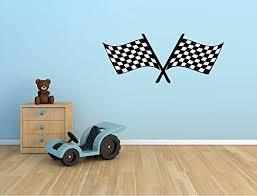 Amazon Com Checkered Flags Racing Flags Vinyl Wall Decal Sticker Boys Teen Room Garage Shop Home Decor Home Kitchen