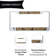 Wake Forest University Demon Deacons Metal License Plate Frame For Front Back Of Car Officially Licensed Mascot License Plate Covers Frames Frames