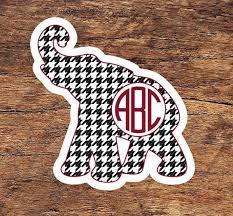Alabama Vinyl Sticker Houndstooth Monogrammed Elephant Phone Etsy