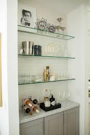 glass shelves marble counter home bar