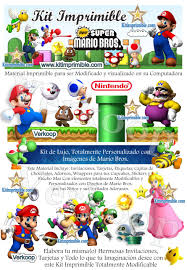 Kit Imprimible Mario Bross Candy Bar