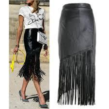 tassel fringe skirt black punk