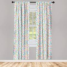 Amazon Com Ambesonne Alphabet Curtains Letters In Fun Colors Kids Scribble Style Abc Hearts Comics Art Window Treatments 2 Panel Set For Living Room Bedroom Decor 56 X 84 Pink Blue Home