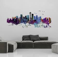 Seattle Skyline Watercolor Stickers Moonwallstickers Com