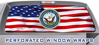Amazon Com Iti Global Designs Navy 001 Window Wrap Usa Red White Blue Truck Car Rear Decal Sticker Automotive