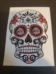 4 Inch Ohio State Buckeyes Die Cut Sugar Skull Sticker Decal Car Window Yeti Ebay