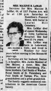 Maxine Beulah Smith LeMar obit - Newspapers.com