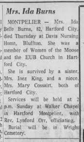 Ida (Carter) Burns Obituary; The Star Press (Muncie, IN); 29 Sep 1968, p11  - Newspapers.com
