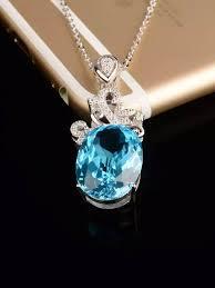 blue topaz necklace big gemstone woman