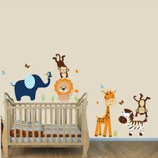 Navy And Orange Jungle Animal Wall Stickers With Lion Stickers For Boys