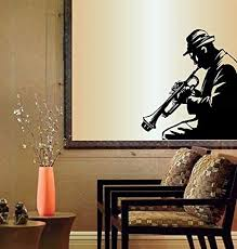 Wall Vinyl Decal Home Decor Art Sticker Jazz Music Trumpet Player Musician Relax Room Removable Stylish Mural Unique Design Amazon Com