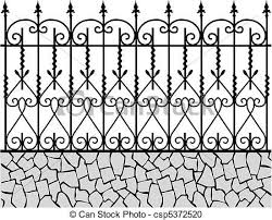 Vector Clipart Of Wrought Iron Fence 1 Csp5372520 Search Clip Art Illustration Drawings And Vector Iron Fence Wrought Iron Gate Designs Wrought Iron Fences