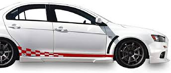 Amazon Com Bubbles Designs Decal Sticker Vinyl Side Wavy Finishing Stripe Kit Compatible With Mitsubishi Lancer Evolution X 10 2005 2016 Red Automotive