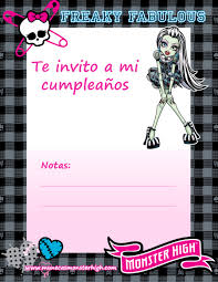 Invitaciones De Cumpleanos Para Imprimir De Monster High