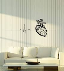Amazon Com Wallstickers4ever Vinyl Wall Decal Polygonal Heart Anatomy Health Medical Office Cardiogram Stickers Mural Large Decor G1945 Black Home Kitchen
