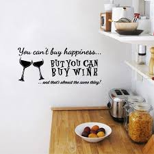 You Cant Buy Happiness But You Can Buy Wine Vinyl Wall Art Quotes Sticker Home Kitchen Bar Wall Decals Decorative Wall Decals Vinyl Wall Arthome Kitchen Aliexpress