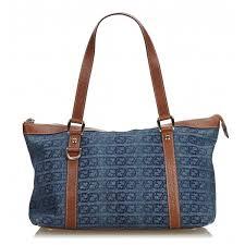 gucci vintage denim tote bag blue