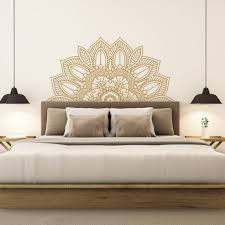 Elegant Headboard Wall Decal Removable Faux Wood Design Sticker Queen Interior White Vamosrayos