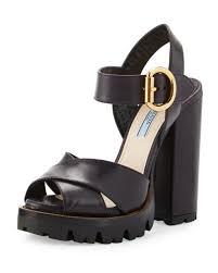 leather platform sandal black heels