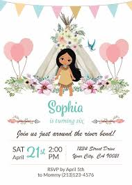 Boho Chic Birthday Invitation Pocahontas Birthday Party