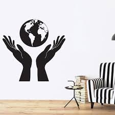 Design Nature Vinyl Wall Stickers Hands Holding A Globe People Protect Earth Wall Sticker Decor Kids Room Mural Diy Wall Stickers For Baby Room Wall Stickers For Bedroom From Langru1002 8 14 Dhgate Com