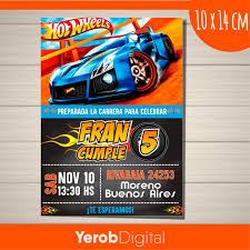 Tarjetas Invitaciones Cumpleanos Hotwheels Digital 190 00 En