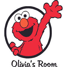 Sesame Street Elmo Waving Muppets Customized Wall Decal Custom Vinyl Wall Art Personalized Name Baby Girls