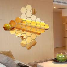 12pcs 3d Mirror Hexagon Vinyl Removable Wall Sticker Decal Home Decor Art Diy Tp899 Decorative Mirrors Aliexpress