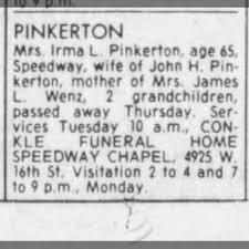 Irma Smith Pinkerton death notice - Newspapers.com