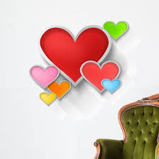 3d Colorful Paper Hearts Wall Decal Wallmonkeys Com