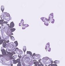 Plantilla De Tarjeta Floral Con Rosas Violetas Y Mariposas Fondo