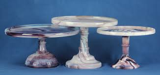 purple and white slag glass cake stands