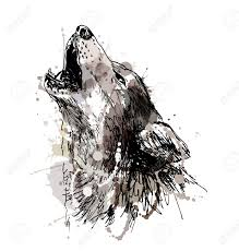 Colored Hand Drawing Of A Howling Wolf. Vector Illustration ...