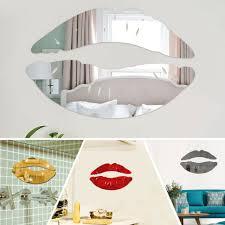 Wall Mirror Stickers Acrylic 3d Kiss Lip Art Mural Decal Home Decor Removable Stylish Dining Room Bedroom Kitchen Decor Walmart Com Walmart Com