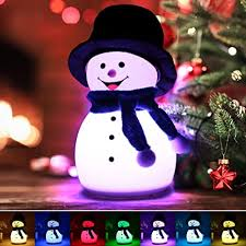 Amazon Com Jack Rose Night Light For Kids Cute Silicone Snowman Light Gift For Women Children Girls Birthday Tap Control Portable Nightlight Safe Baby Nursery Lamps For Bedroom With Music 7