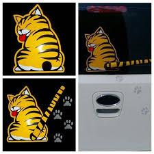 Hot Waterproof Cartoon Windshield Yellow Cat Car Stickers Rear Window Wiper Graphics Decal Paw Tail Wish