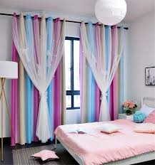 Amazon Com Yancorp Room Darkening Light Blocking Pink Curtains White Sheer Lace Detachable Bow Ties Kids Room Decor Ombre Drapes Star Double Layer Window Panels Bedroom Living Room Pink Blue W52 X 96