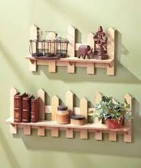 Set Of Two Wooden Fence Shelves Natural Traditional Picket Fence Wall Decor Wooden Fence Picket Fence Decor