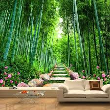 Custom 3d Photo Wallpaper Sticker Modern Bamboo Forest Wall Decal Vinyl Wall Stickers Wall Decorations Living Room Poster Mural Wall Stickers Aliexpress