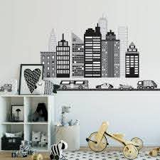Cityscape Wall Decal Black And White City Skyline Wall Decal With Car